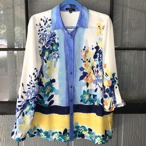 Rafaella watercolor-look floral blouse